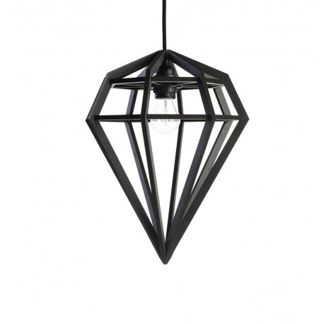 Lampe suspension diamant bois noir aveva design