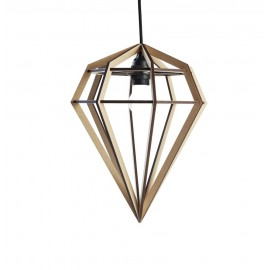 Lampe suspension diamant bois Aveva Design Raw