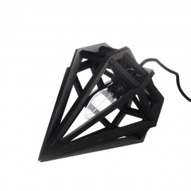 Petite lampe suspension diamant bois noir Aveva Design Raw