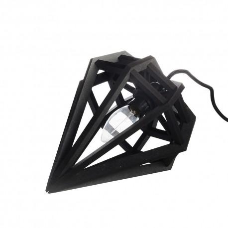 Petite lampe suspension diamant bois noir Aveva Design S