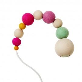 Suspension perles bois laine feutrée Aveva Design Wow rose vert