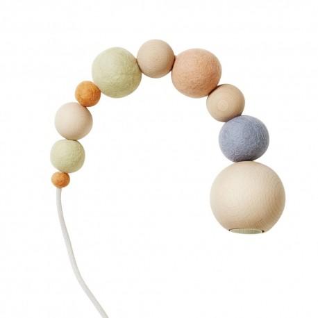 lampe suspension perles bois feutrine aveva design wow pastel