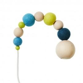 Suspension Wow Lamp Aveva Design perles bois laine feutrée vert bleu