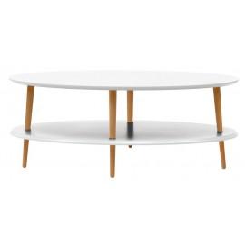 Table basse deux plateaux ovale blanche bois Ragaba Ovo