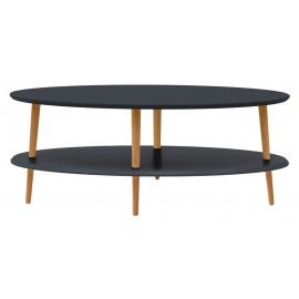 Table basse ovale 2 plateaux graphite bois Ovo Ragaba