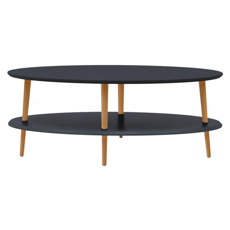 Ragaba ovo table basse ovale 2 plateaux graphite bois ragabaovo3l - Table basse ovale bois ...