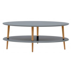 table basse ovale 2 plateaux grise bois ragaba ovo