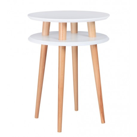 Table d'appoint ronde 2 plateaux blanche bois Ragaba Ufo