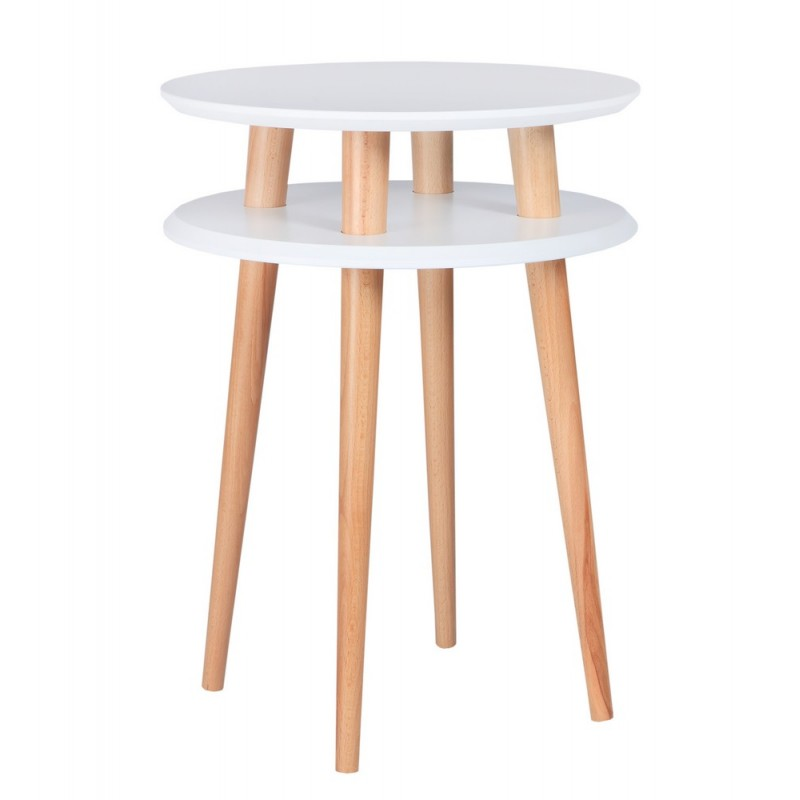 table d appoint ronde 2 plateaux blanche bois ragaba ufo ragabaufo31. Black Bedroom Furniture Sets. Home Design Ideas