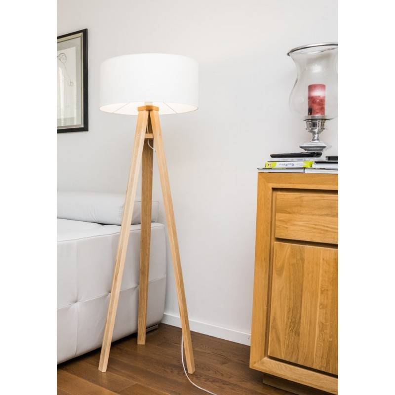 lampadaire trepied bois massif abat jour blanc ragaba wanda ragabalp010. Black Bedroom Furniture Sets. Home Design Ideas