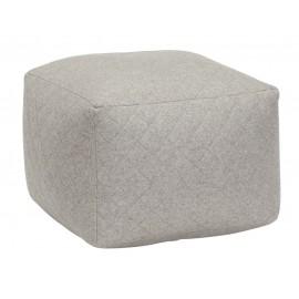 Pouf carre gris laine hubsch