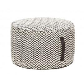 Pouf rond noir et blanc motif chevron Hübsch