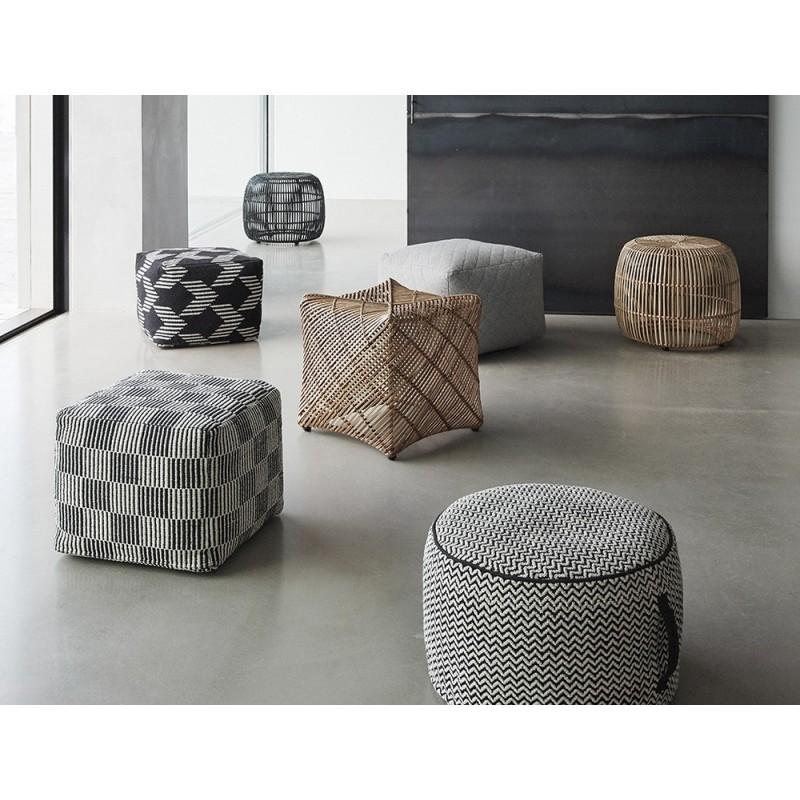 hubsch pouf rond noir et blanc motif chevron 740304. Black Bedroom Furniture Sets. Home Design Ideas
