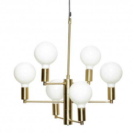 Suspension chandelier 6 ampoules design scandinave laiton Hübsch