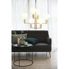 Suspension chandelier 6 ampoules design scandinave laiton hubsch