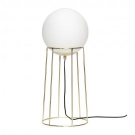 Lampadaire boule verre blanc métal laiton design rétro Hübsch