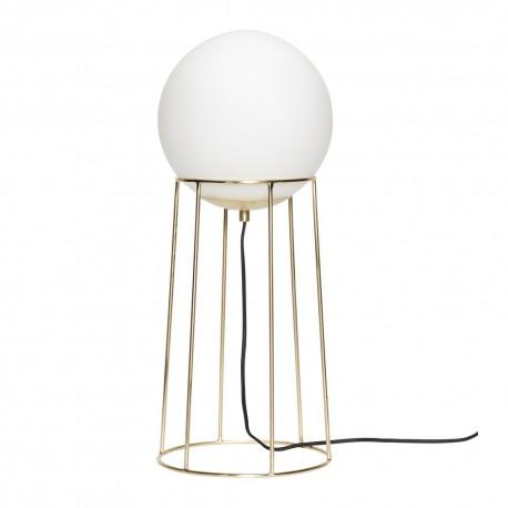 Lampadaire boule verre blanc laiton design retro hubsch