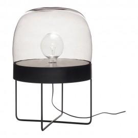 Lampe de sol design métal noir verre fumé Hübsch
