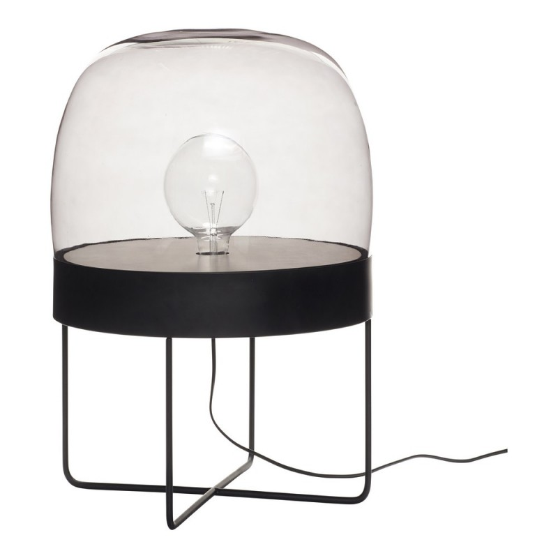 hubsch lampe a poser lampadaire design metal noir verre fume 990605. Black Bedroom Furniture Sets. Home Design Ideas