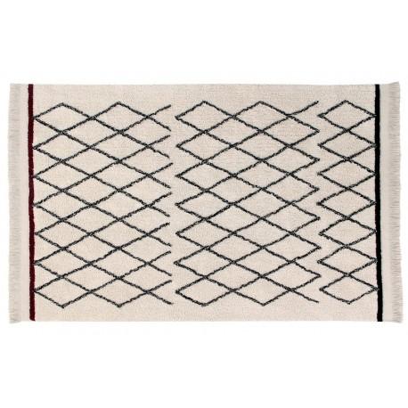 Tapis berbère noir blanc lavable Lorena Canals Bereber Crisscross 120 x 170 cm