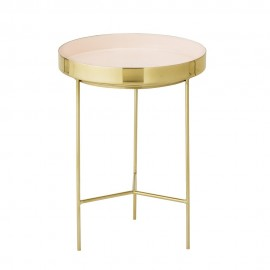 Table basse ronde rose metal dore plateau amovible bloomingville tray