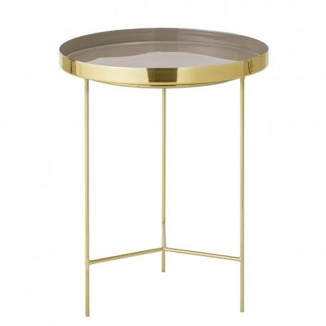 Table d'appoint ronde métal doré plateau taupe Bloomingville Tray