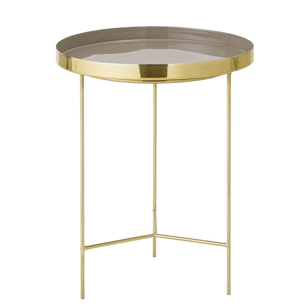 Table d appoint ronde metal dore plateau taupe bloomingville tray - Kdesign
