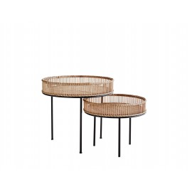 Set de 2 tables basses rondes bambou metal madam stoltz