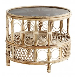 Table basse ronde rétro bois bambou verre gris Madam Stoltz