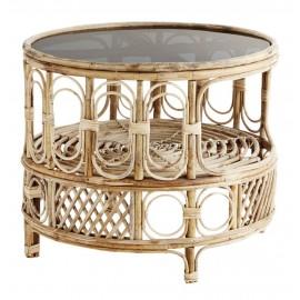 Table basse ronde retro bambou verre gris madam stoltz