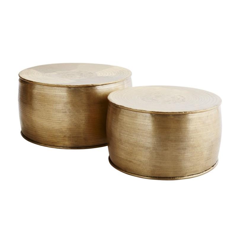 madam stoltz set de 2 tables basses rondes metal dore grave pl 42101. Black Bedroom Furniture Sets. Home Design Ideas