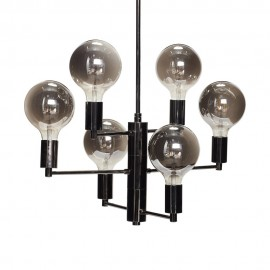 Suspension design multiple métal noir 6 ampoules LED gris fumé Hübsch