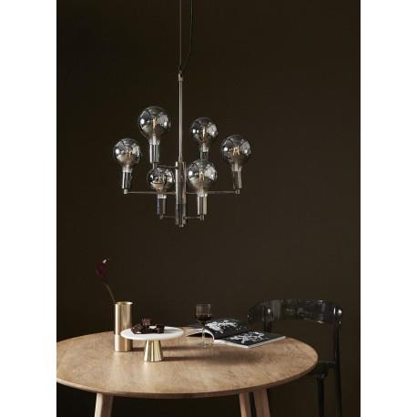 Suspension design multiple métal noir 6 ampoules led gris fume Hübsch