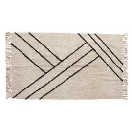 Tapis rectangulaire blanc noir coton franges Hübsch 96 x 180 cm