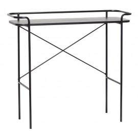 Table console design épurée métal bois noir Hübsch