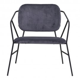Chaise lounge métal velours gris House Doctor Klever
