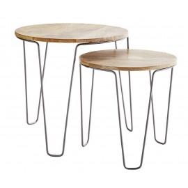 Set de 2 tables basses rondes épurées bois Madam Stoltz