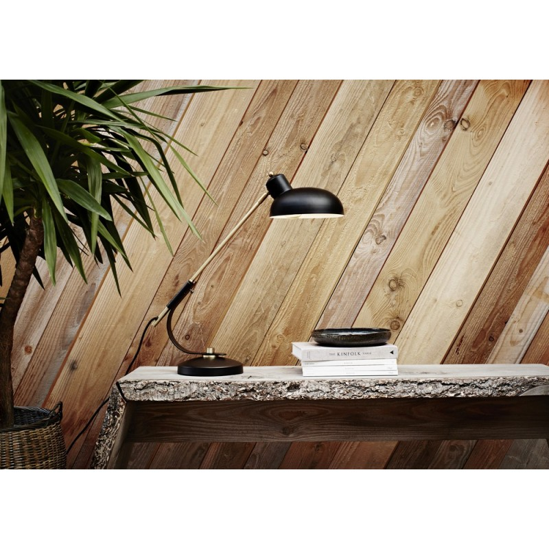 madam stoltz lampe de bureau retro vintage metal noir mat mt1095. Black Bedroom Furniture Sets. Home Design Ideas