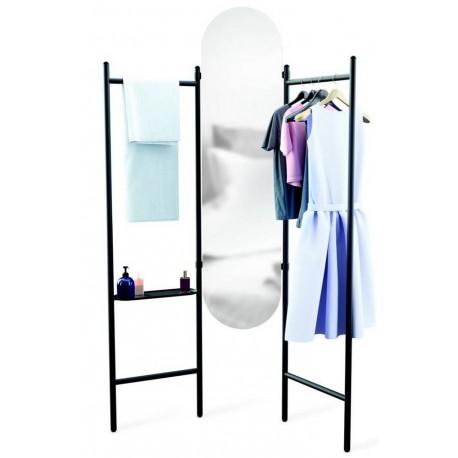 umbra vala miroir paravent valet de chambre metal noir 1009611-040
