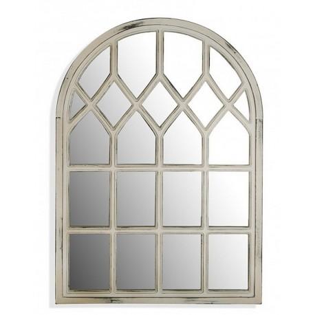 miroir fenetre arrondie bois blanc vieilli versa 21110150. Black Bedroom Furniture Sets. Home Design Ideas