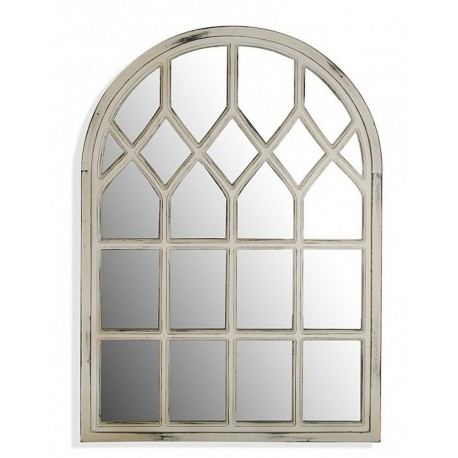 Miroir fenetre arrondie bois blanc vieilli versa 21110150 for Miroir blanc bois