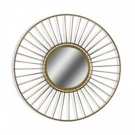 miroir rond geometrique metal dore versa
