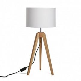 Lampe de table trepied bois abat jour blanc versa kaur