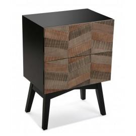 table de chevet contemporaine noire bois 2 tiroirs versa