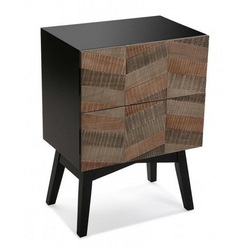 table de chevet contemporaine noire bois 2 tiroirs versa. Black Bedroom Furniture Sets. Home Design Ideas