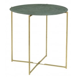 Table basse ronde laiton metal vert bloomingville leaf