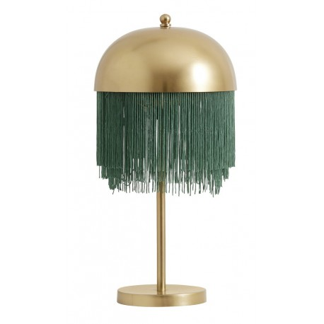 Lampe de chevet a franges metal dore nordal