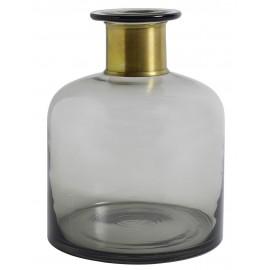 nordal vase bouteille verre gris bande doree