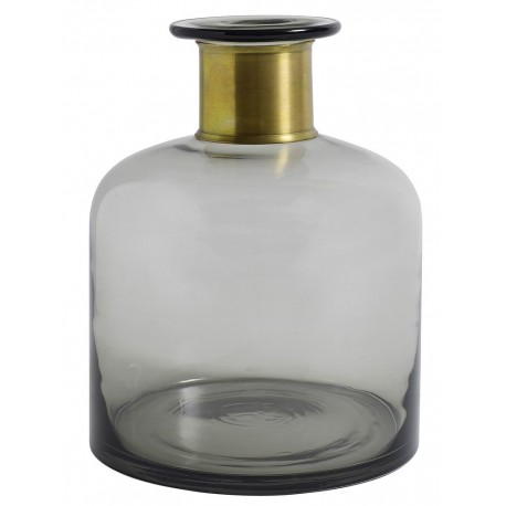 Vase bouteille verre gris bande dorée Nordal