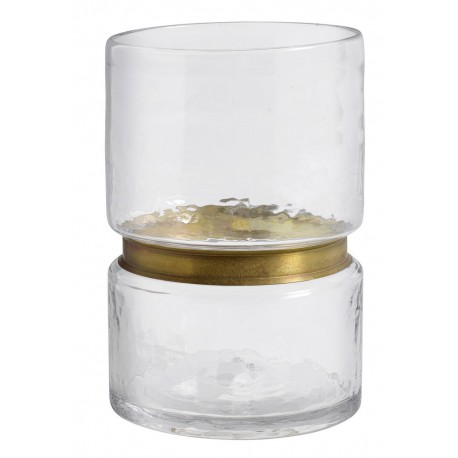 nordal ring vase transparent avec bande doree